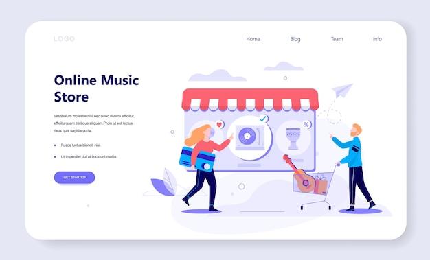 Online winkelen webbanner concept. e-commerce, klant in de uitverkoop. app op mobiele telefoon. muziekwinkel. illustratie in stijl