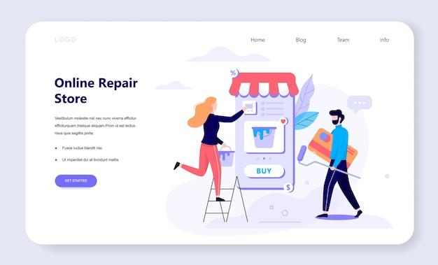Online winkelen webbanner concept. e-commerce, twee vrouwelijke en mannelijke klanten die reparatiehulpmiddelen, verf, kit kiezen. webpagina . internet marketing. illustratie in stijl