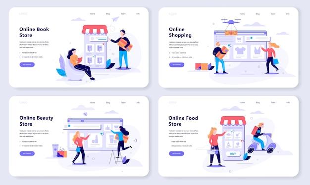 Online winkelen webbanner concept set. e-commerce, klant in de uitverkoop. app op mobiele telefoon. boek-, schoonheids- en voedingswinkel. illustratie in stijl