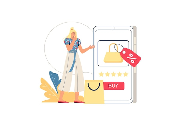 Online winkelen webconcept. vrouw koopt in mobiele applicatie, kiest goederen, koopt winstgevend met kortingen. mobiele handel, minimale mensenscène. vectorillustratie in plat ontwerp voor website