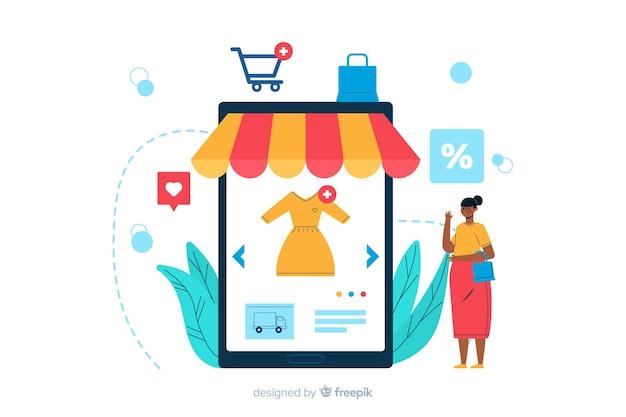 Online winkelende bestemmingspaginaillustratie