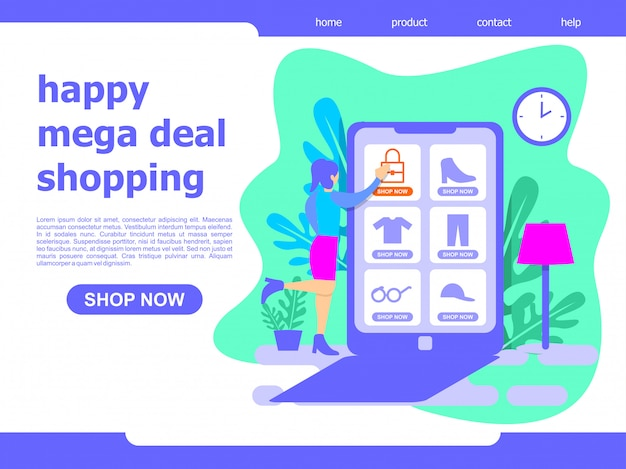 Online winkelillustratie van de bestemmingspagina