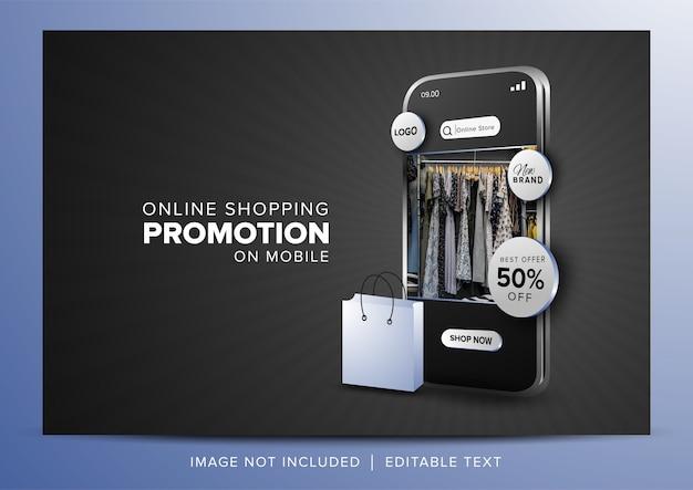 Online winkelpromotie op mobiele app op donkergrijze achtergrond