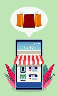 Online winkeltechnologie met winkelgevel in smartphone en bladerenillustratie