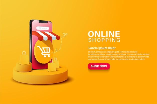 Online winkelwagentje illustratie en verkooppromotie