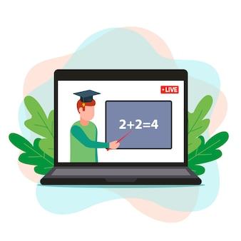Online wiskundeonderwijs. de leraar geeft op afstand les via een computer. illustratie.