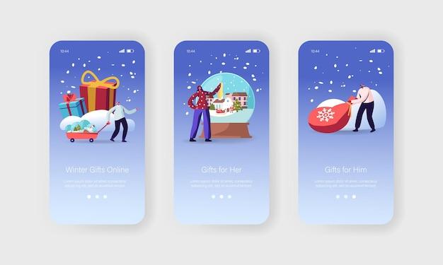 Online xmas gifts mobiele app-pagina onboard-schermsjabloon