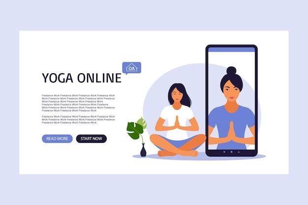 Online yoga concept bestemmingspagina. meisje beoefent yoga en meditatie en kijkt thuis online naar video op de telefoon.