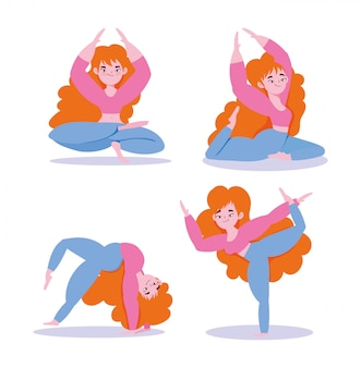 Online yoga, online yoga, meisje doet yoga-oefeningen in verschillende poses cartoon