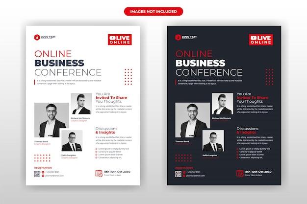 Online zakelijke conferentie flyer sjabloonontwerp
