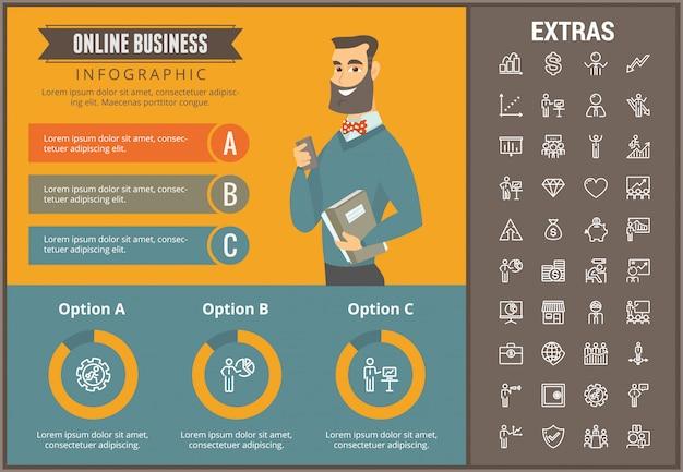 Online zakelijke infographic sjabloon en elementen