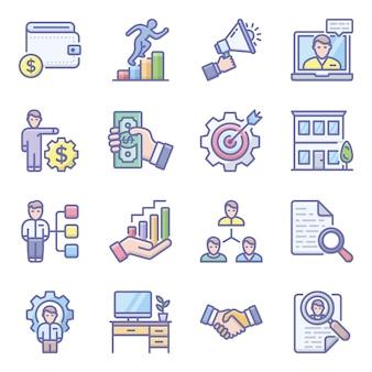 Online zakelijke plat pictogrammen pack