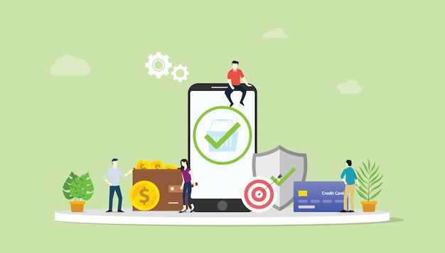 Online zaken veilig betalingsverkeer concept