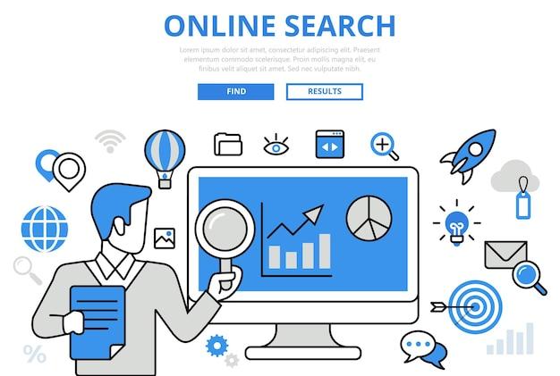 Online zoekresultaten promotie seo analytics promo concept platte lijntekeningen pictogrammen.