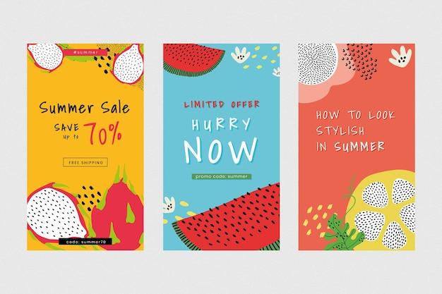 Online zomer verkoop promotie sjabloon set vector