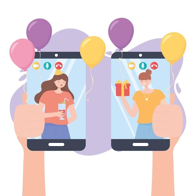 Onlinefeest, handen met mobiele telefoon en mensen in videogesprekviering