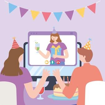 Onlinefeest, koppel met taart vieren videogesprek met meisje