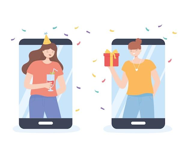 Onlinefeest, meisjes verbonden met apparaten die de vectorillustratie van de vergaderingsverjaardag vieren