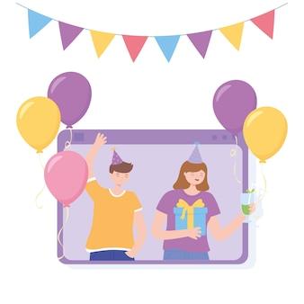 Onlinefeest, videogesprek met gelukkige mensen die feestelijk vieren