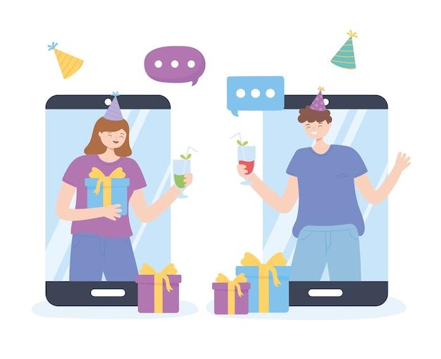 Onlinepartij, man en vrouw in smartphoneverbinding die vergadering vectorillustratie vieren