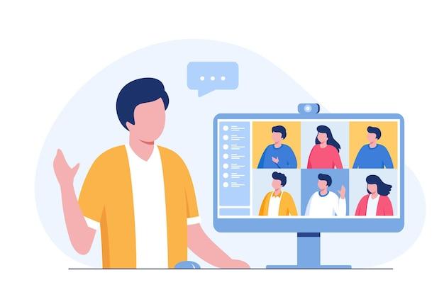 Onlinevergadering met computer, videoconferentie, vlakke illustratievector van het groepswerkconcept