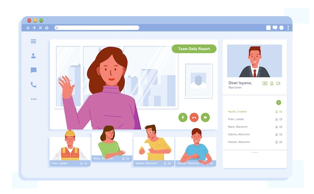 Onlinevergadering met videoconferentie door werknemer uit een andere plaats