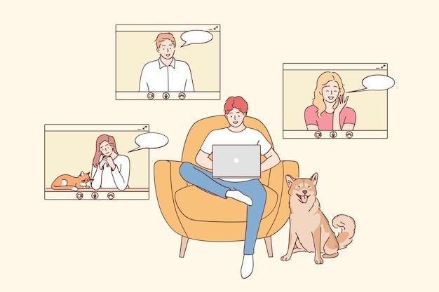Onlinevergadering, werk op afstand, teleconferentieconcept. groep voor jonge lachende mensen stripfiguren met video-oproep in kantoor aan huis Premium Vector