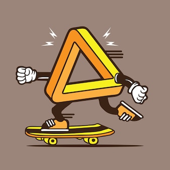 Onmogelijke driehoekige vormgeving van skateboarden