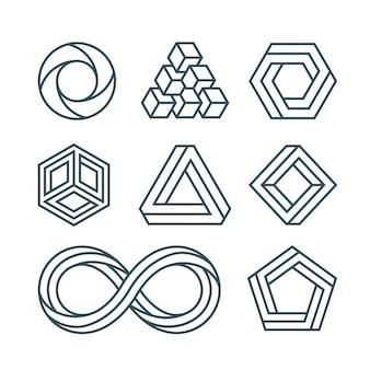 Onmogelijke geometrische vormen ingesteld