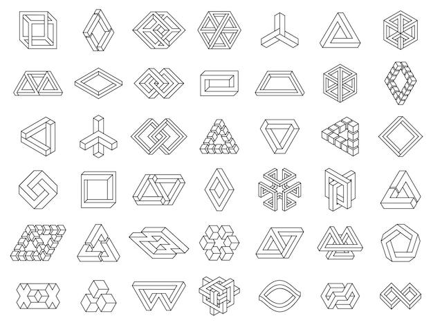 Onmogelijke geometrische vormen paradox geometrische lijnfiguren niet-uitgebreid onmogelijke geometrie vectorset
