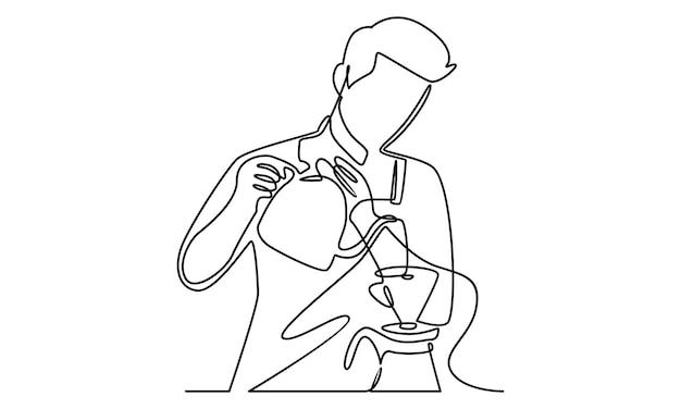 Ononderbroken lijn van barista die melk naar koffieillustratie giet