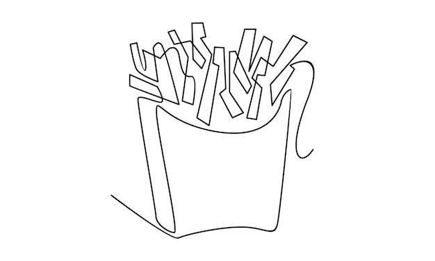 Ononderbroken lijn van frietenillustratie