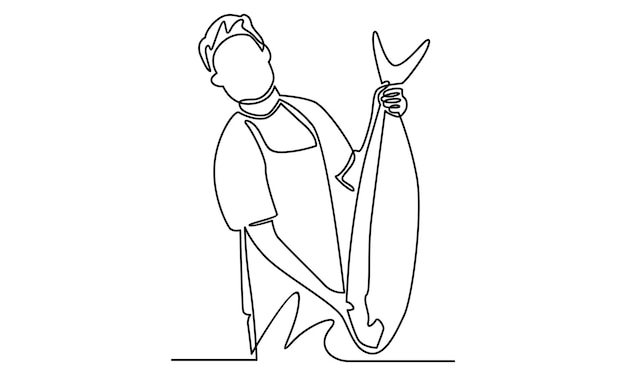 Ononderbroken lijn van visser die grote vissenillustratie toont