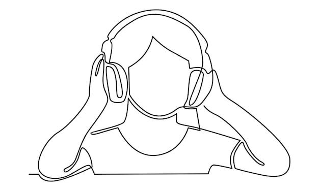 Ononderbroken lijn van vrouw die aan muziek op draadloze hoofdtelefoonsillustratie luistert