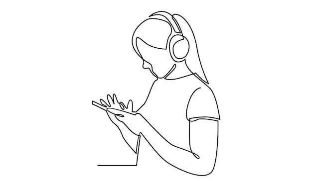 Ononderbroken lijn van vrouw die hoofdtelefoonillustratie draagt