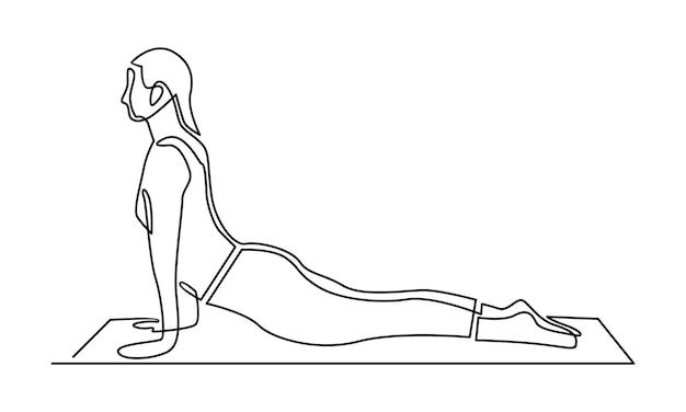 Ononderbroken lijn van vrouw die illustratie van de ochtendtraining doet