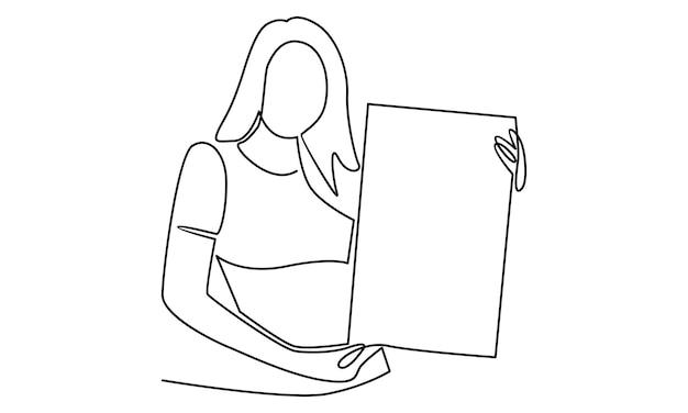 Ononderbroken lijn van vrouw met een afbeelding van een wit bord