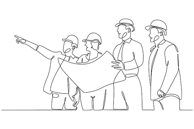 Ononderbroken lijntekening een groep architecten die vectorillustratie van het groepswerkconcept bouwen