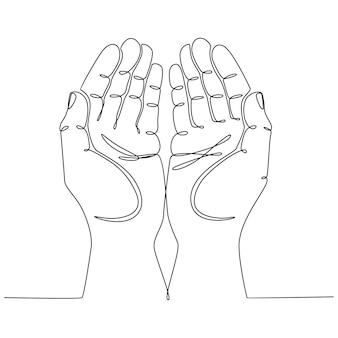 Ononderbroken lijntekening handen omhoog biddend concept vectorillustratie