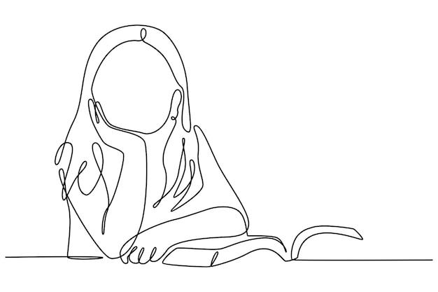 Ononderbroken lijntekening kind denken tijdens het lezen vector