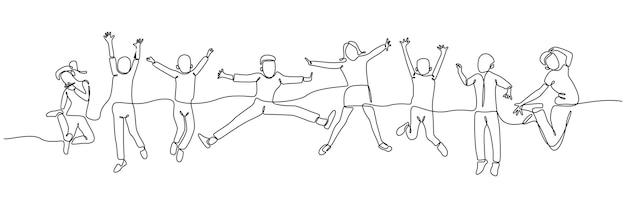 Ononderbroken lijntekening kinderen springen gelukkig jeugd geluk concept