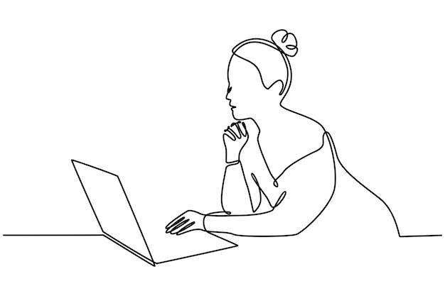 Ononderbroken lijntekening mooie jonge vrouw die lacht langharige meisje met behulp van laptop vector