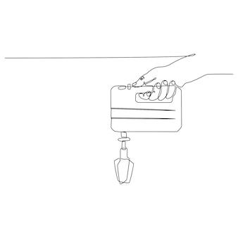 Ononderbroken lijntekening van een hand die een mixer vectorillustratie houdt