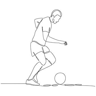 Ononderbroken lijntekening van een voetballer die op een witte vectorillustratie wordt geïsoleerd als achtergrond