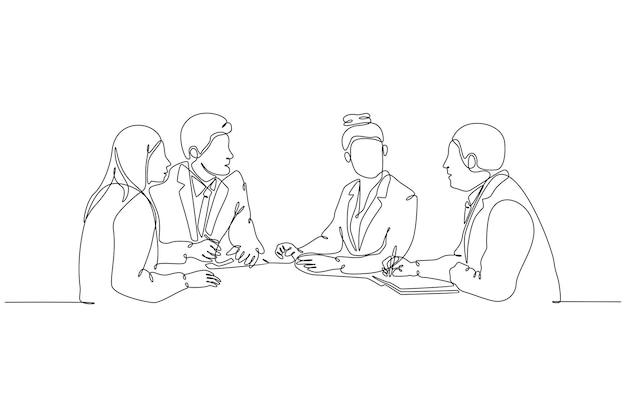 Ononderbroken lijntekening van groep mensen op het werk die vectorillustratie ontmoeten