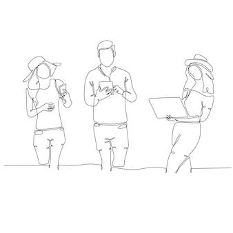 Ononderbroken lijntekening van jonge mensen die technologie vectorillustratie gebruiken
