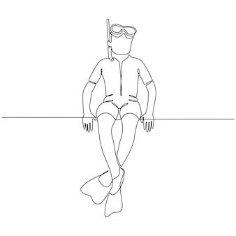 Ononderbroken lijntekening van jongen met duikmasker die op witte vectorillustratie wordt geïsoleerd als achtergrond