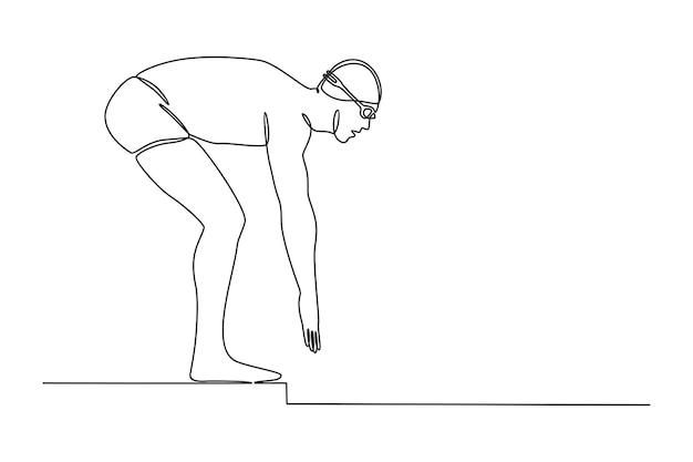 Ononderbroken lijntekening van mannelijke zwemmer die zwemmende sprong voorbereiden die op witte achtergrond wordt geïsoleerd