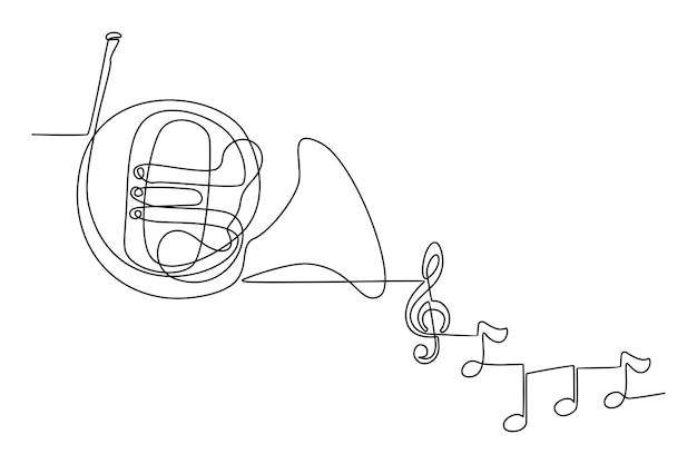 Ononderbroken lijntekening van muziekinstrument franse hoorn met instrument toon vectorillustratie