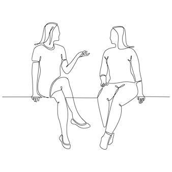 Ononderbroken lijntekening van twee jonge vrouwen die een gesprek voeren dat op een witte achtergrond wordt geïsoleerd